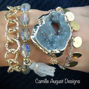 Druzy stone bracelet stack